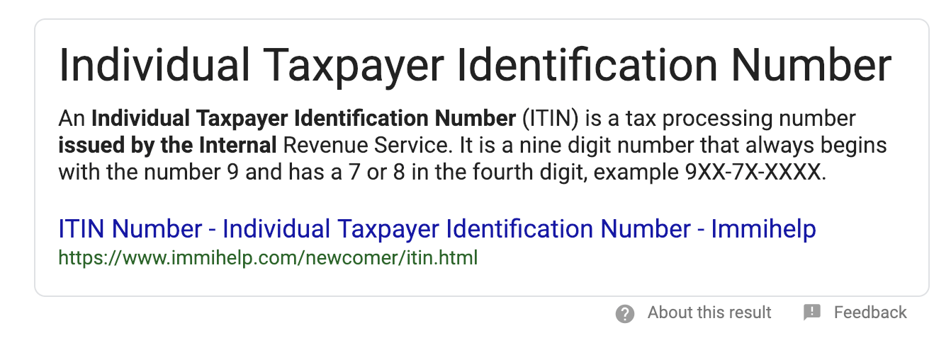 what is an ITIN number